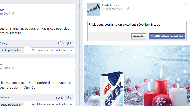 Modifier un post Facebook