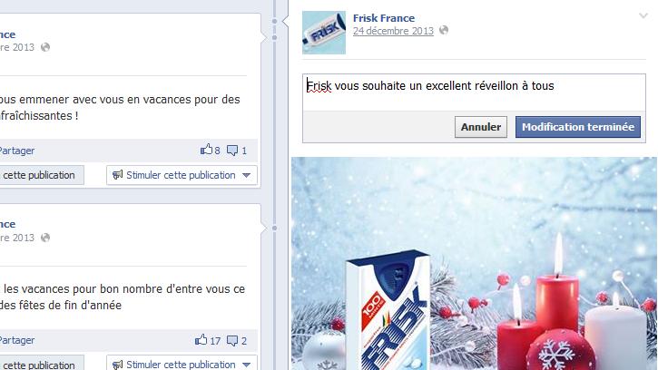 Modifier un post Facebook
